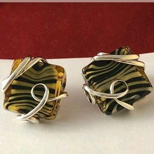 Vintage Italy Rossana Zebra Murano Glass in .925